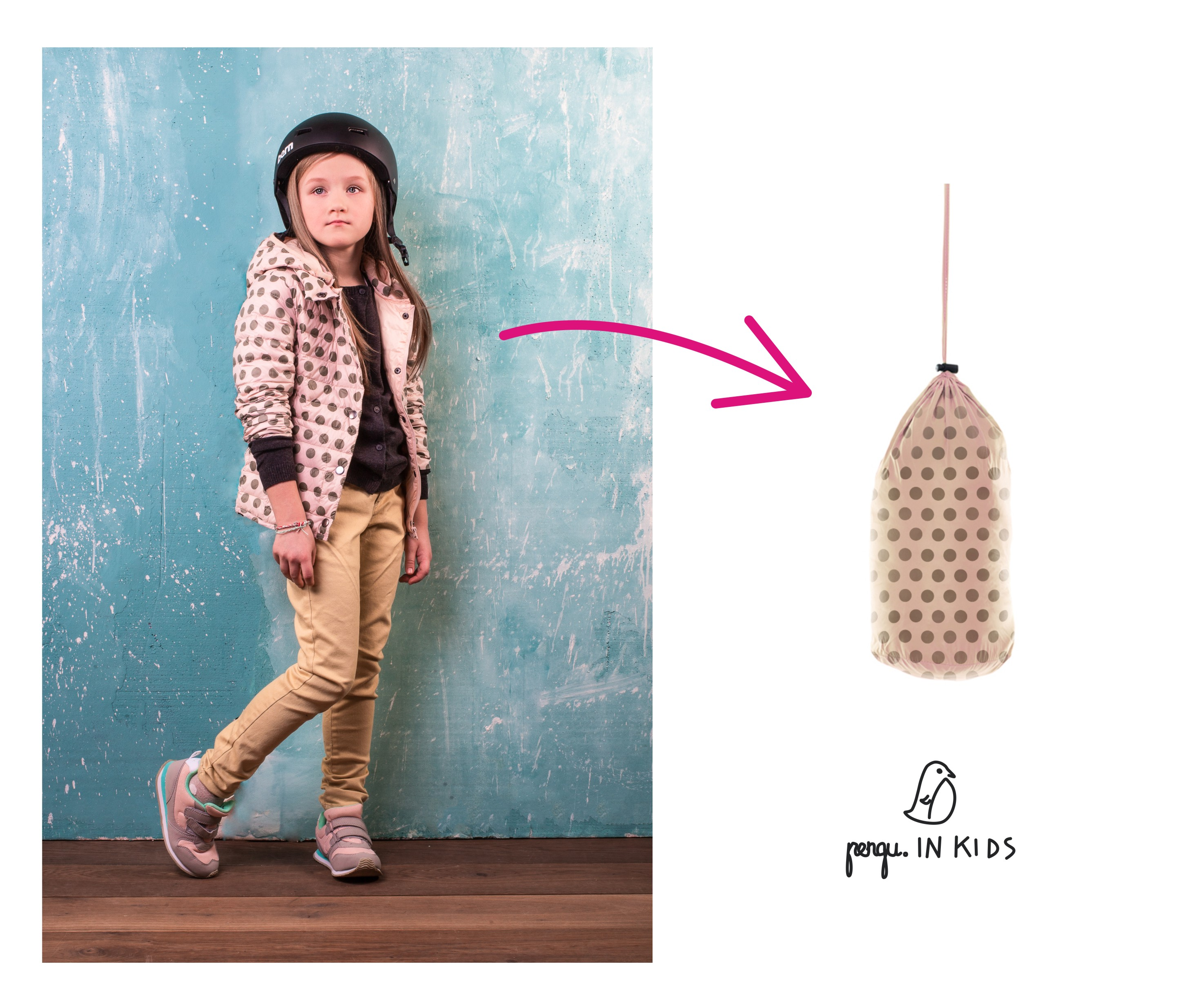Pengu.IN KIDS down coats fit into small bag. They are perfect for travelling as they are light, and compact.