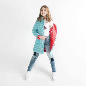 Pengu KIDS ultra light down coat in light blue dots