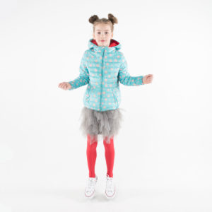 Pengu KIDS ultra light down jacket in light blue dots