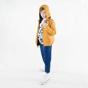 Pengu KIDS ultra light down jacket in amber yellow